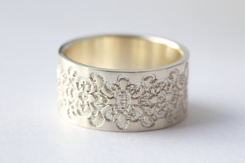 Silver Wide Ring with Lace Texture, Anniversary Ring,  Wedding Band, Silver Lace Ring