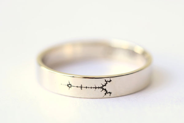 White Gold Fractal Wedding Band, Science Jewelry, Mathematics Jewelry, Mandelbrot Set