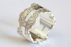 Unique Silver Wedding Band with Lace Texture, Wide Silver Ring, Silver Wedding Ring