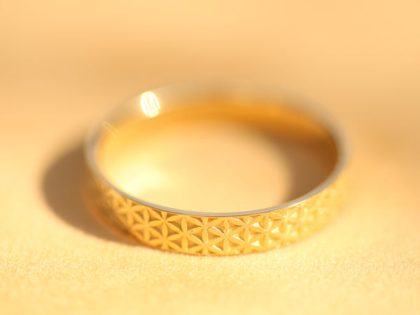 Gold Flower Of Life Ring, Flower of Life Wedding Band, Boho Wedding Ring, Boho Wedding Band