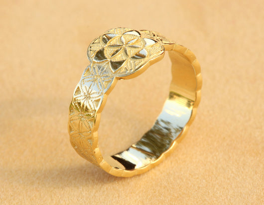 Gold Flower of Life Ring, Gold Boho Ring, Boho Jewelry, Boho Wedding Band,Boho Wedding Ring