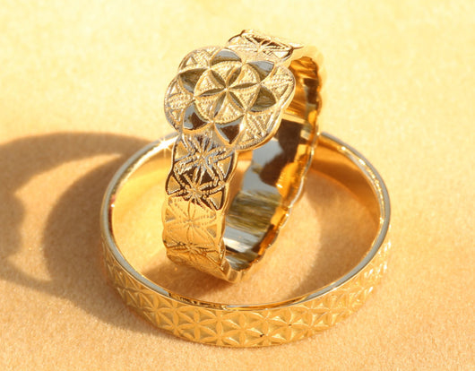 Flower of Life Wedding Ring Set, Gold Wedding Ring Set, Wedding Rings His and Hers