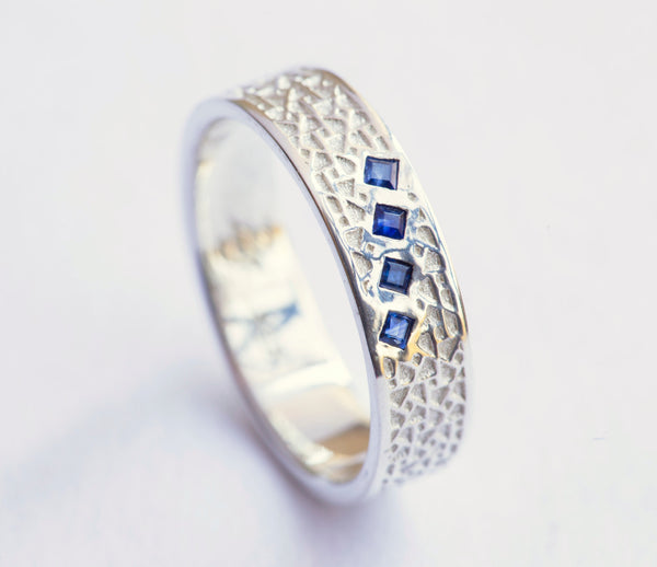 Square Sapphire Ring, Unique Mens Wedding Band, Blue Sapphire White Gold Ring