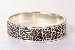 Men's Oxidized Silver Wedding Band, Men's Silver Wedding Band, Textured Wedding Ring