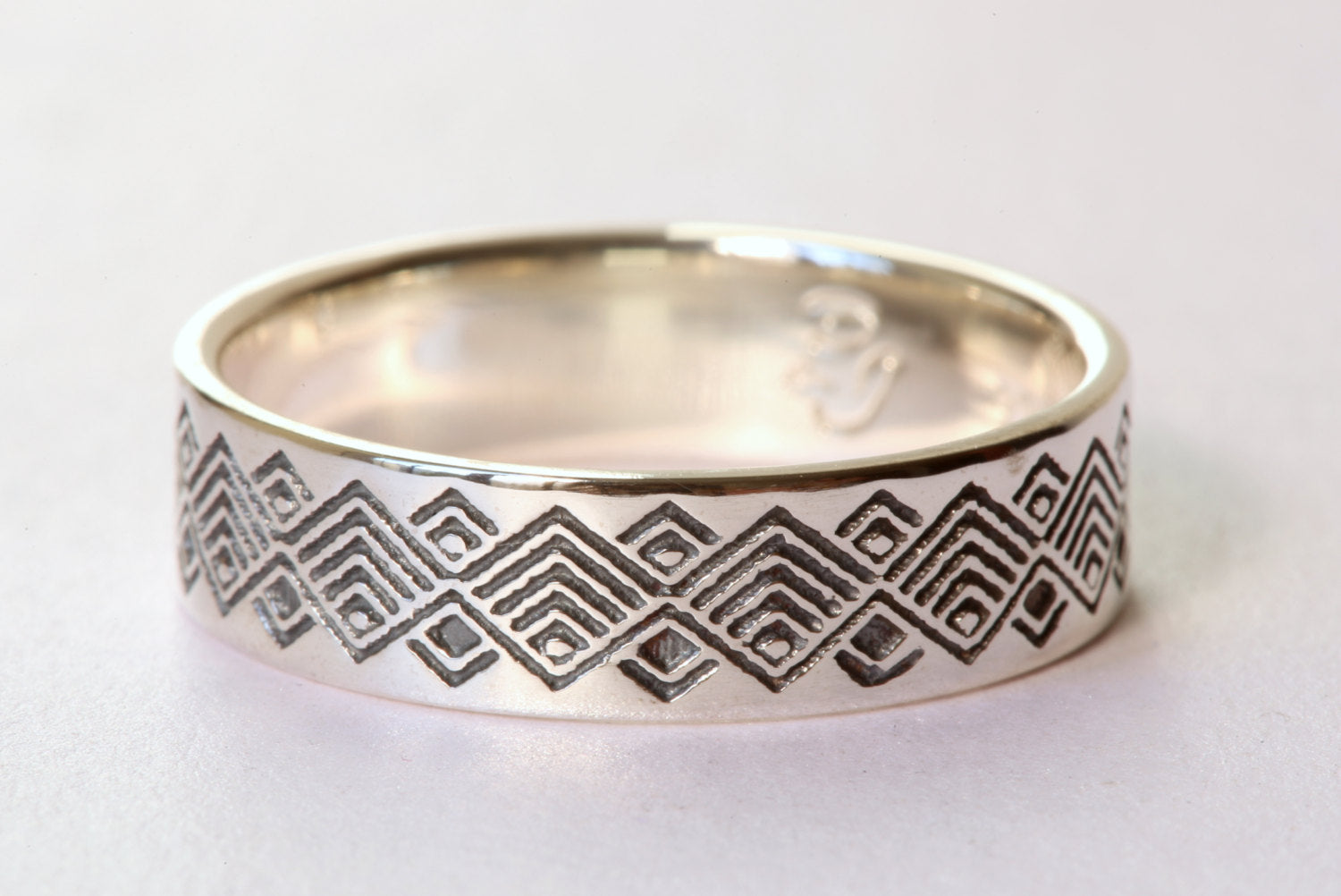 Men's Wedding Band, Oxidized Silver Ring, Oxidized Wedding Band, Pattern Ring, Mens Ring Size 9.5