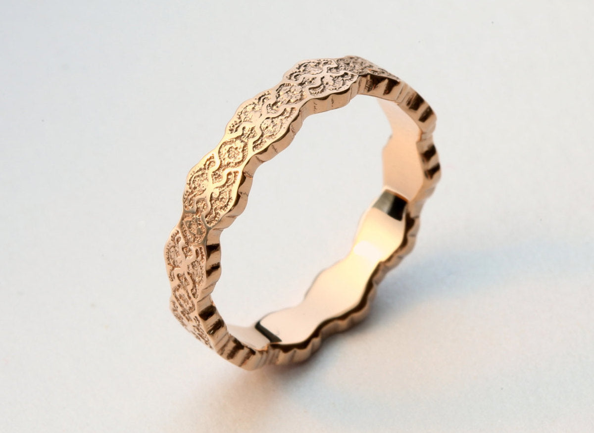 Art Deco Wedding Band, Women's Wedding Band,Art Deco Ring, Rose Gold Art Deco Ring, Gold Lace Ring