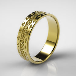 Men's Gold Wedding Ring, Unique Gold Men's Wedding Band, Gold Wedding Ring w/Textured Pattern
