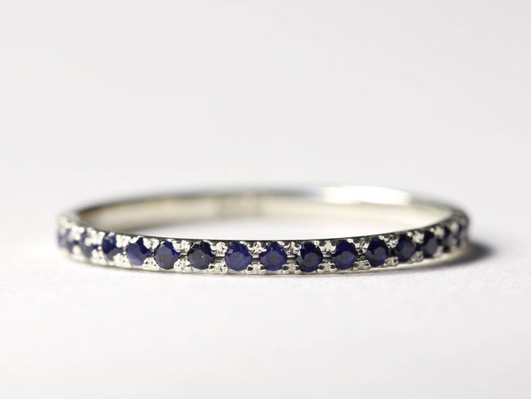 Pave Wedding Ring, Pave Wedding Band, Thin Wedding Band, Delicate Wedding Ring, Pave Sapphire Ring