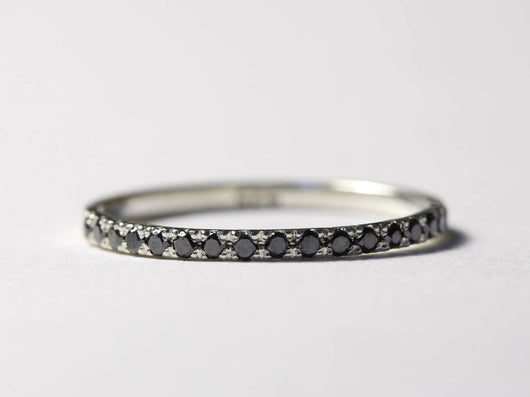 Black Diamond Ring, Black Diamond Wedding Band, Black Diamond Band, Pave Diamond Ring