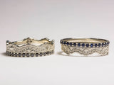Diamond Sapphire Rings, Diamond and Sapphires, White Gold Rings, Unique Ring Set