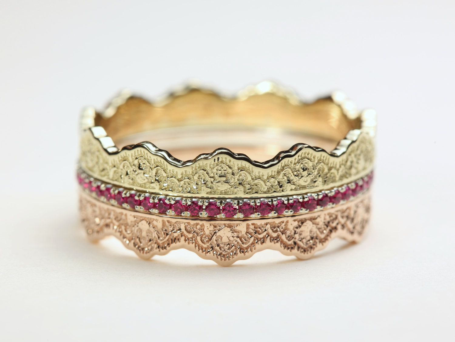 Stacking Rings Set, Stacking Lace Wedding Band, Pink Sapphire Lace Band, Stackable Gold Rings