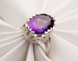 White Gold Ring, Purple Amethyst Ring, Gold Amethyst Ring, Zen Ring, Yoga Ring, Meditation Ring