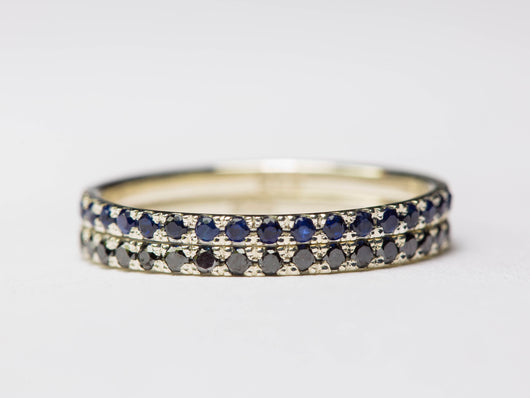 Diamond Sapphire Rings, Pave Stacking Rings, Thin Pave Rings, Ring Set, Blue and Black