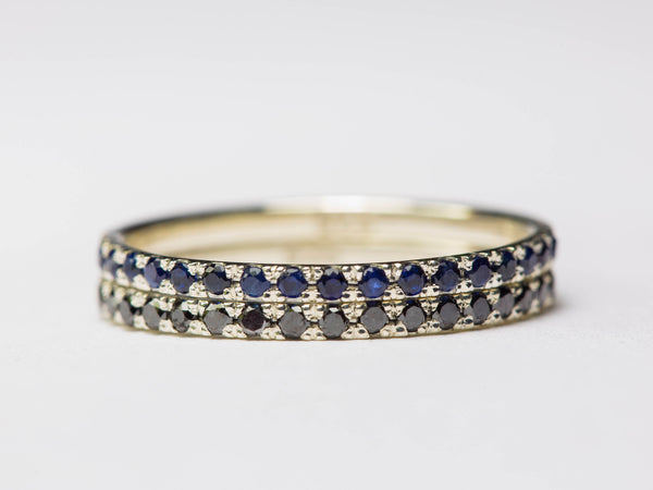 Stackable Ring Set, Black Diamonds Stacking Ring, Blue Sapphires Stacking Ring