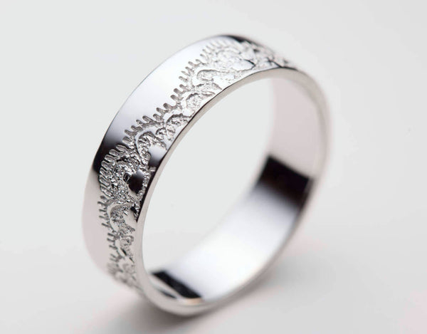 Wedding Bands White Gold, Lace Wedding Ring, White Gold Band, White Gold Wedding Ring