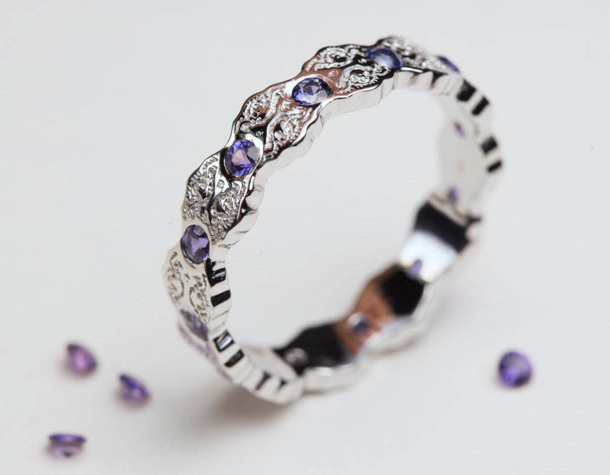 Purple Sapphire Ring, White Gold Ring, Art Deco Ring, Sapphire Wedding Band, Purple Sapphires