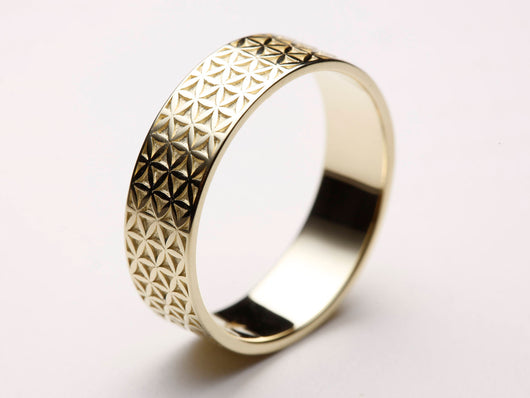 Flower of Life Ring, Flower of Life Wedding Ring, Flower of Life Band, Gold Flower of Life