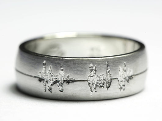 Platinum Wedding Band, Platinum Soundwave Ring, Wedding Band Men, Platinum Sound Wave Ring