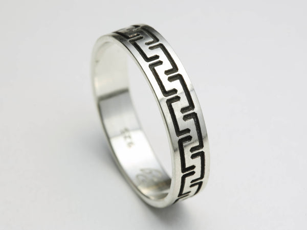 Silver Wedding Band Mens Oxidized Ring, Oxidized Silver Rings Men, Silver Modern Ring