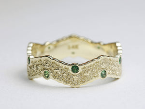 Gold Wedding Band with Chrome Tourmaline, Green Tourmaline Wedding Band, Unique Wedding Ring