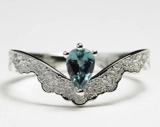 0.33 ct Green Tourmaline Engagement Ring, Unique White Gold Ring, Scalloped Lace Gold Ring