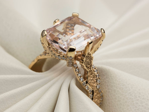Morganite Engagement Ring, Rose Gold Diamond Engagement Ring, Unique Lace Engagement Ring