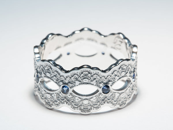 White Gold Lace Ring, Wide Sapphire Ring, Wide Open Ring, Wide Gold Lace Ring