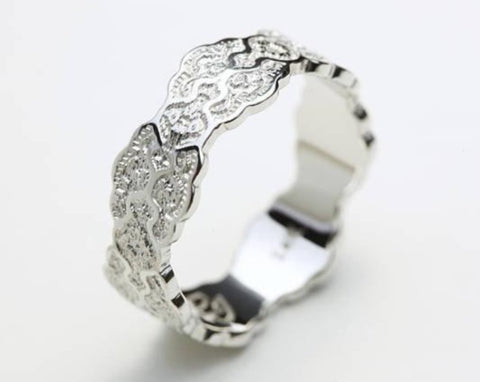 Art Deco White Gold Ring, Gold Lace Ring, Lace Wedding Band, Intricate Lace Ring