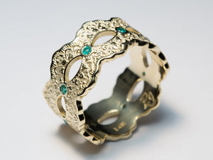 Emerald Lace Ring, Emerald Wedding Band, Yellow Gold Eternity Band, Wide Eternity Band