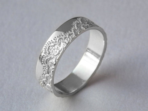 Platinum Wedding Band with Lace Texture, Platinum Wedding Ring, Platinum Lace Ring