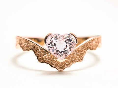 Heart Shaped Morganite Engagement Ring, Unique Rose Gold Ring, Scalloped Gold Ring