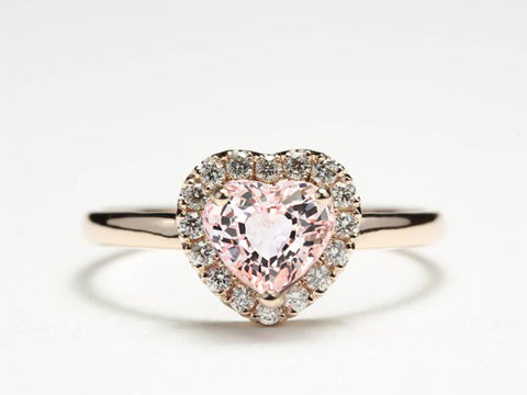 Heart Shaped Engagement Ring, Diamond Halo Engagement Ring, Morganite Diamond Ring