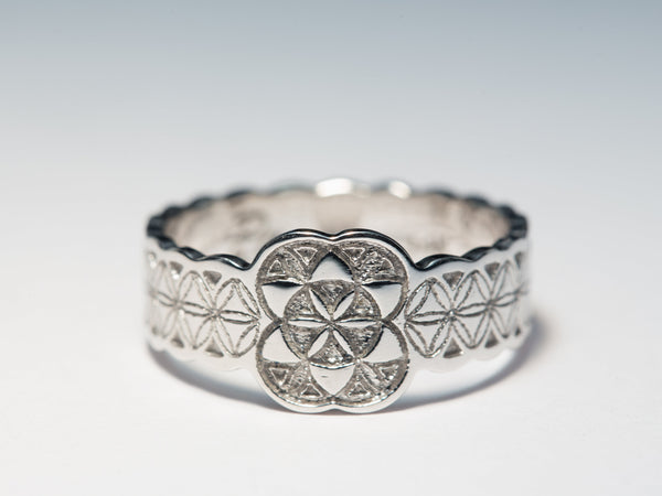 Silver Flower of Life Ring, Silver Boho Ring, Boho Jewelry, Boho Wedding Band, Boho Wedding Ring