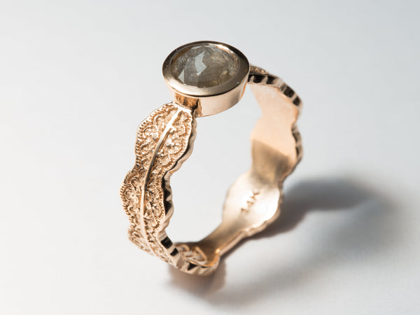 Unique Rose Gold Engagement Ring, Rose Cut Diamond Engagement Ring