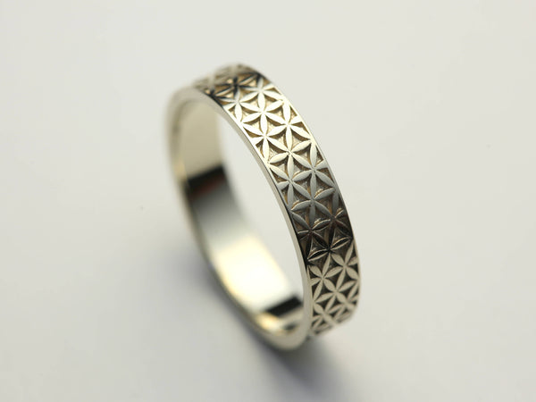 Silver Flower of Life Ring, Silver Ring, Flower of Life Grid, Silver Flower of Life