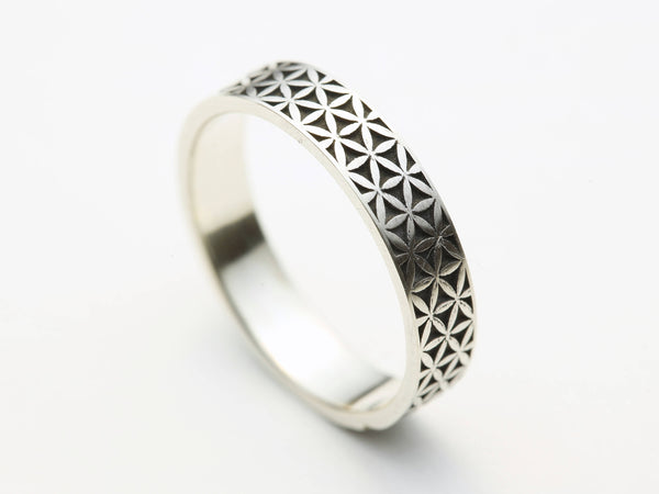 Oxidized Silver Flower of Life Ring, Flower of Life Grid, Silver Flower of Life