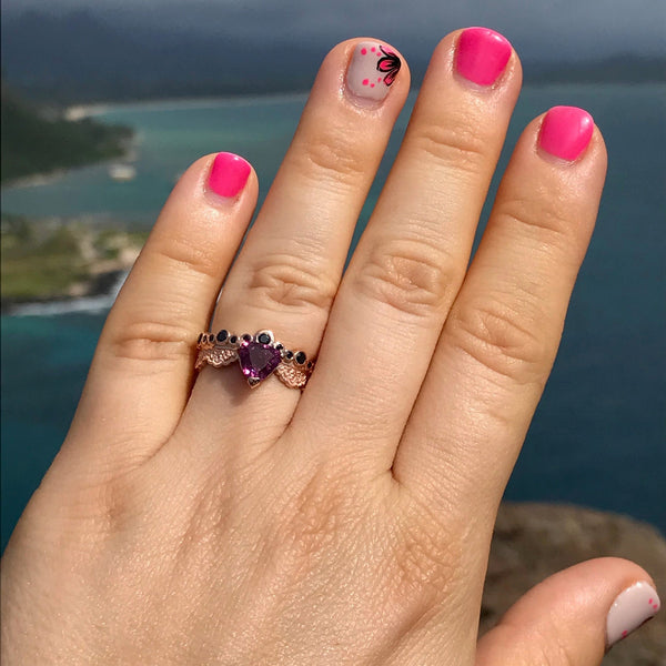 14K Rose Gold Lace Ring with Purple Tourmaline and Black Sapphires, Trillion Tourmaline Ring
