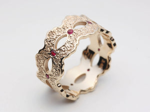 Ruby Wedding Band, Ruby Wedding Ring, Ruby Rose Gold Ring, Ruby Rose Gold Band, Ruby Eternity Ring