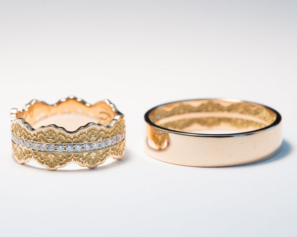 Matching Rings for Couples, His and Her Set, Hidden Lace Ring, His and Her Ring Set
