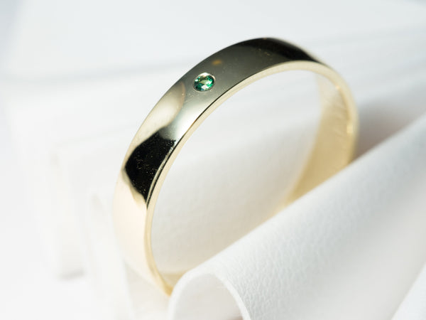 Yellow Gold Wedding Ring, Gold Wedding Ring, Simple Wedding Ring, Emerald Wedding Band