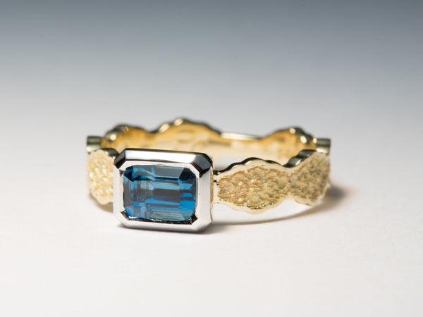 Blue Topaz Ring, Two Tone Gold Ring, Yellow Gold Topaz Ring, White Gold Topaz Ring