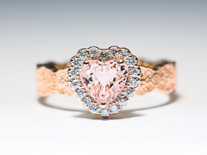 Morganite Heart Halo Ring, Heart Engagement Ring, Pink Morganite Ring