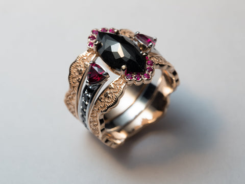Black Diamond and Ruby Engagement Ring, Ruby Wedding Ring, Black Diamond Statement Ring