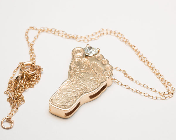 Baby Foot Pendant, Gold Baby Footprint Necklace