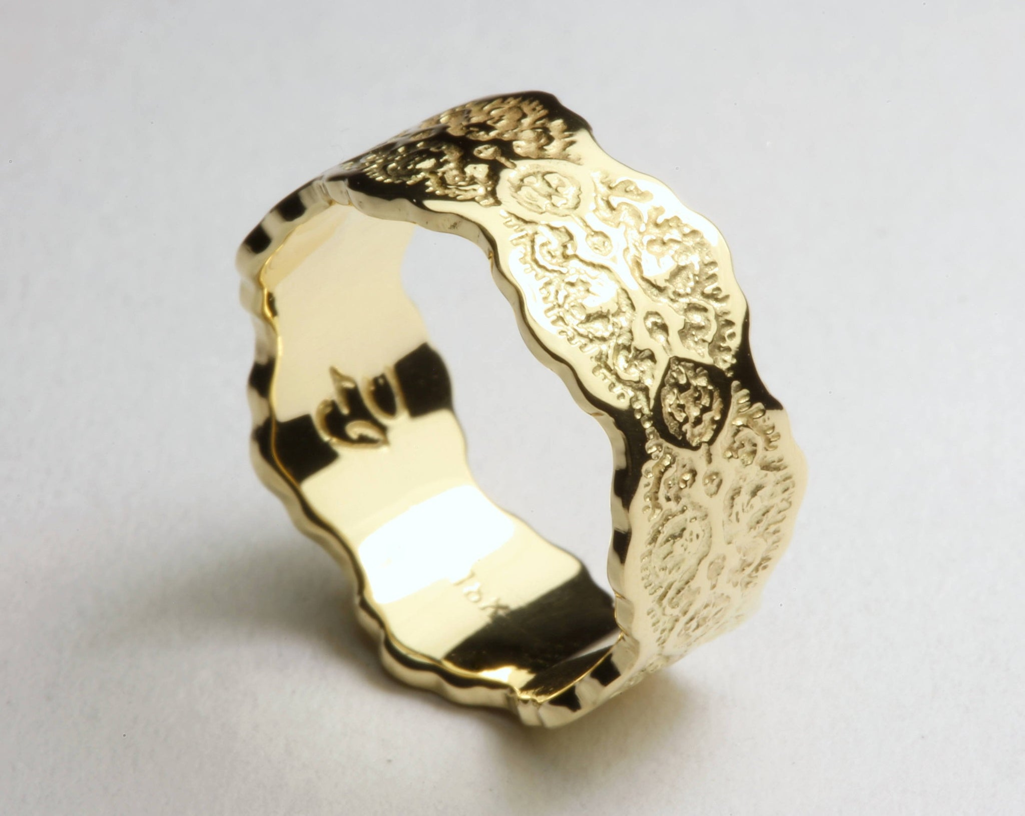 18K Gold Wedding Ring, Gold Lace Ring, Wedding Lace Ring, Wide Gold Art Deco Ring