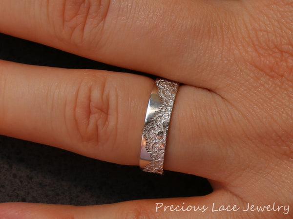 Silver Wedding Band with Lace, Anniversary Ring, Wedding Ring, Wedding Band, Silver Lace Ring