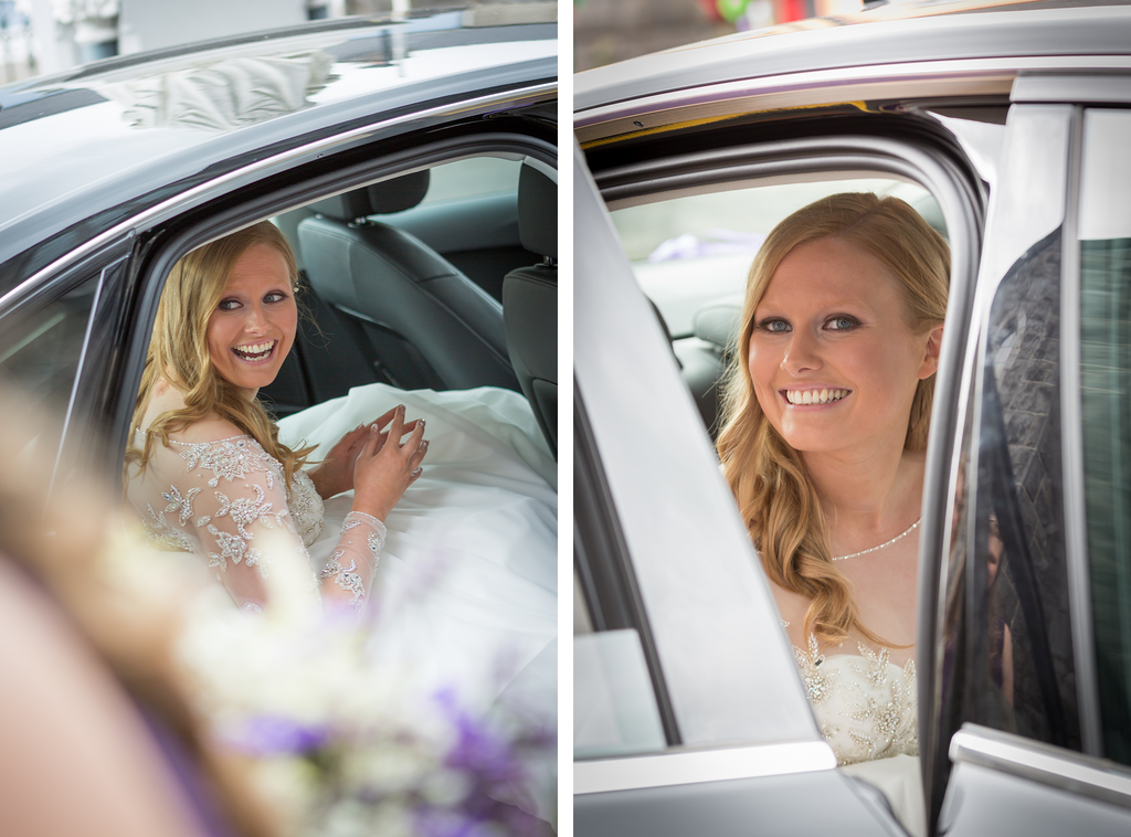 Smiling bride in the wedding car photography