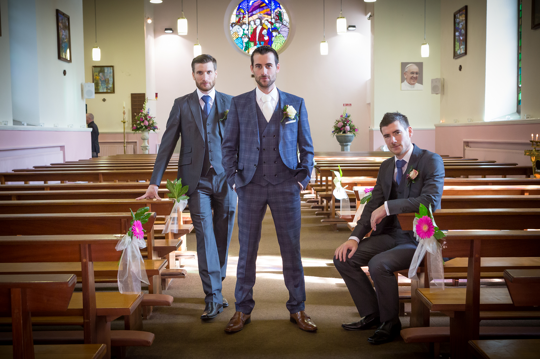 Groom and groomsmen in the church Galway roscommon wedding photographer