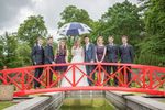 Bridal party poses happy wedding photography