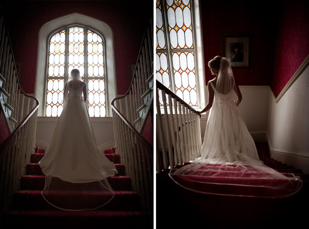 Beautiful wedding photography Galway Roscommon Westmeath stairs dress veil window